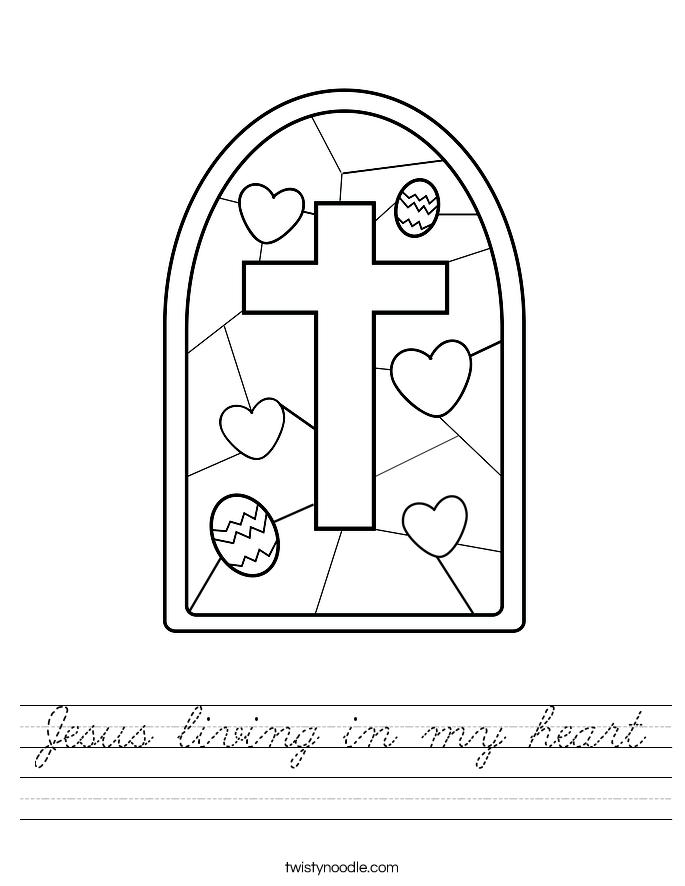 Jesus living in my heart Worksheet