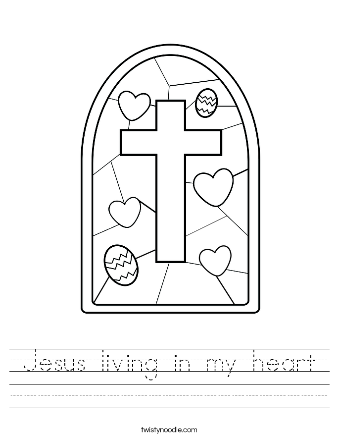 Jesus living in my heart Worksheet