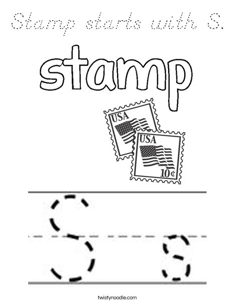 Stamp starts with S. Coloring Page