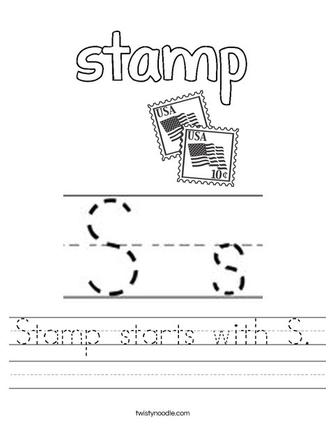 Stamp starts with S. Worksheet