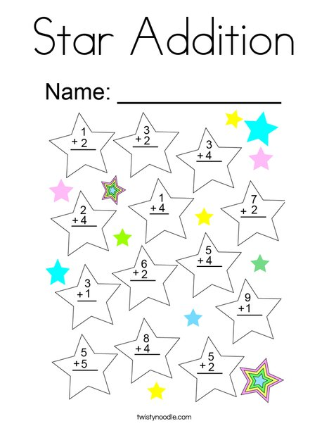 Star Addition Coloring Page