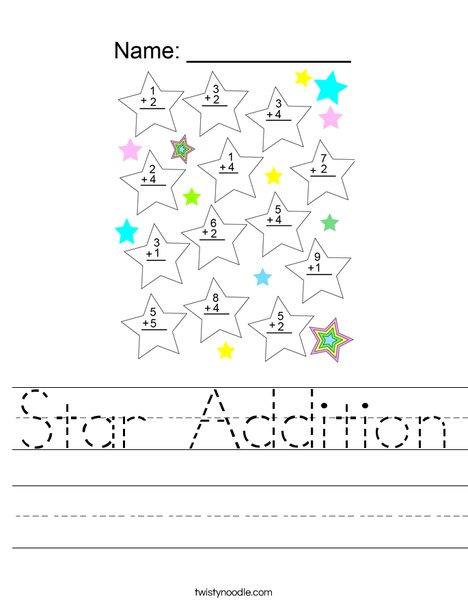 Star Addition Worksheet