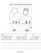 Star and Jar Handwriting Sheet