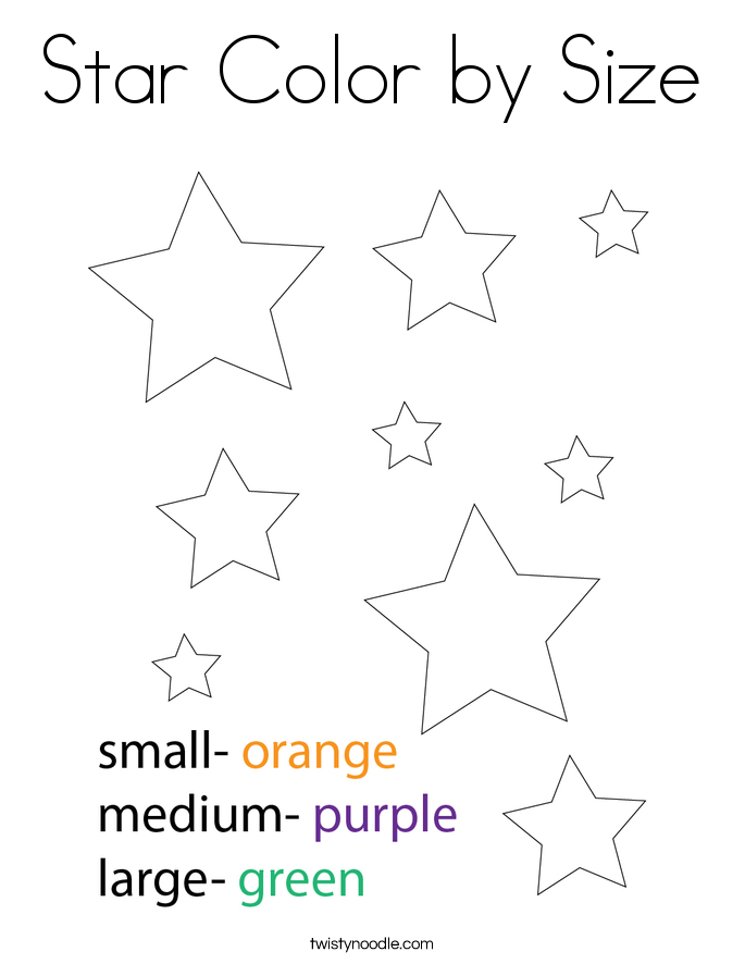 Star Color by Size Coloring Page - Twisty Noodle