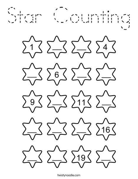 Star Counting Coloring Page
