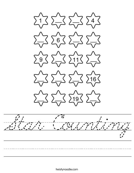 Star Counting Worksheet