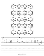 Star Counting Handwriting Sheet