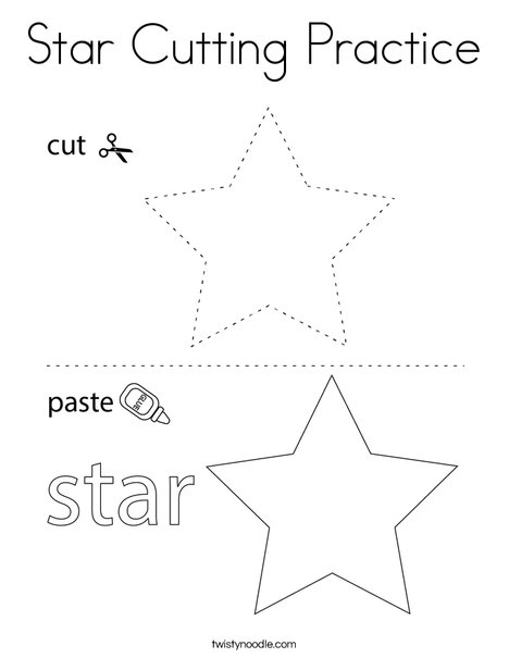 Star Cutting Practice Coloring Page