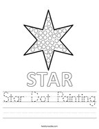 Star Dot Painting Handwriting Sheet