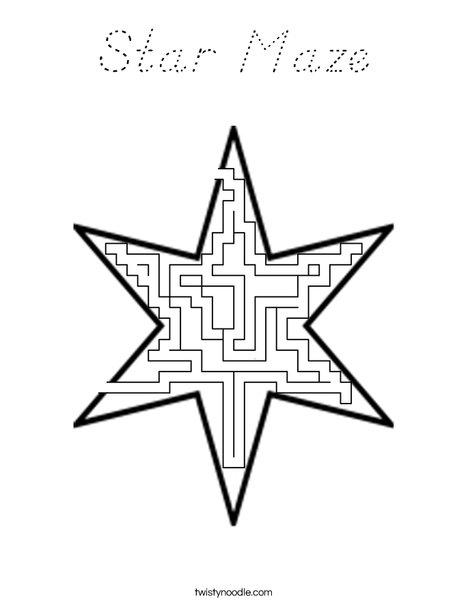 Star Maze Coloring Page