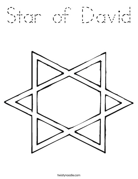 Star of david coloring page tracing twisty noodle for Star of david coloring page