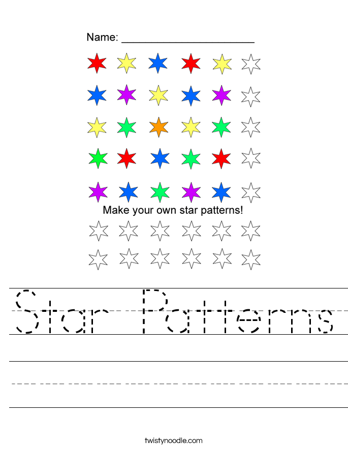 Star Patterns Worksheet