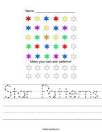 Star Patterns Handwriting Sheet
