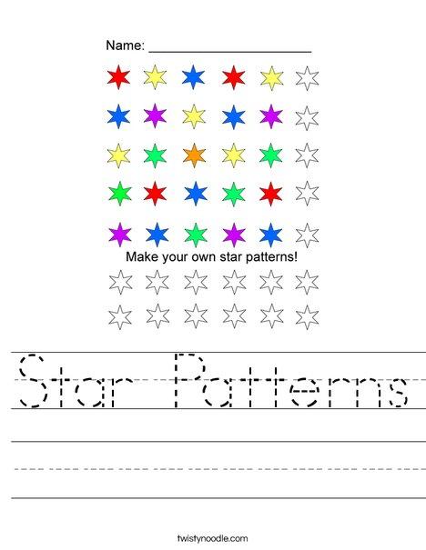 Star Patterns Worksheet