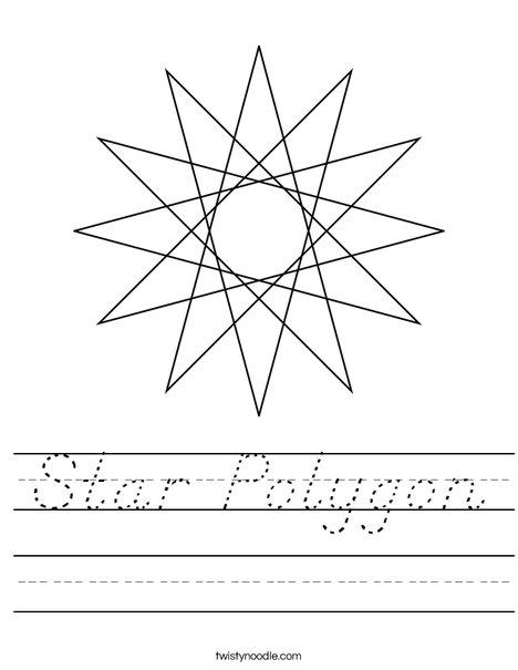 Star Polygon Worksheet - D'Nealian - Twisty Noodle