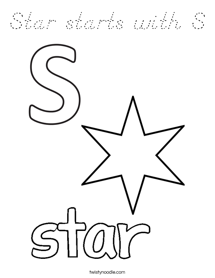 Star starts with S Coloring Page