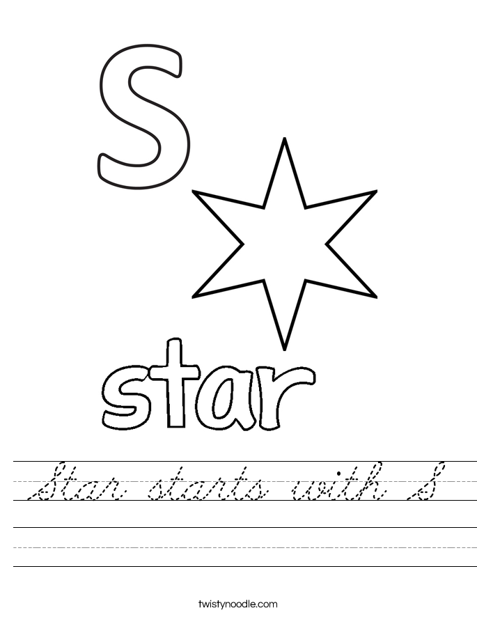 Star starts with S Worksheet