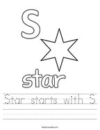 Star starts with S Handwriting Sheet