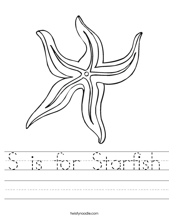 S is for Starfish Worksheet