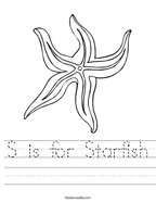 S is for Starfish Handwriting Sheet