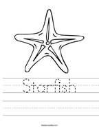 Starfish Handwriting Sheet