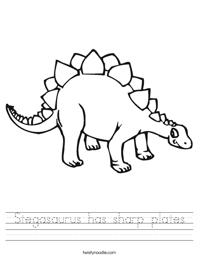 Stegasaurus has sharp plates Worksheet