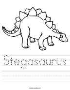 Stegasaurus Handwriting Sheet