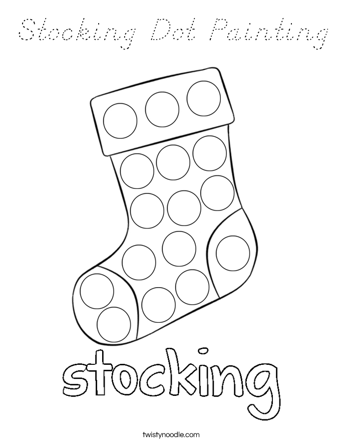 Stocking Dot Painting Coloring Page