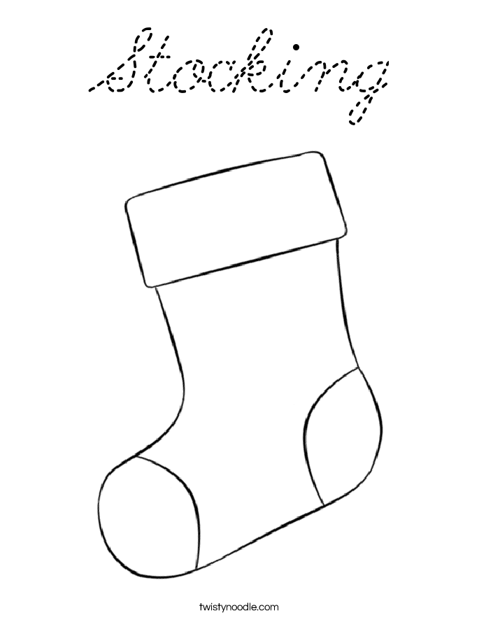 Stocking Coloring Page - Cursive - Twisty Noodle