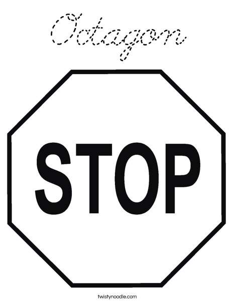 Octagon coloring page cursive twisty noodle for Stop sign coloring pages