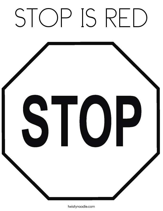 STOP IS RED Coloring Page