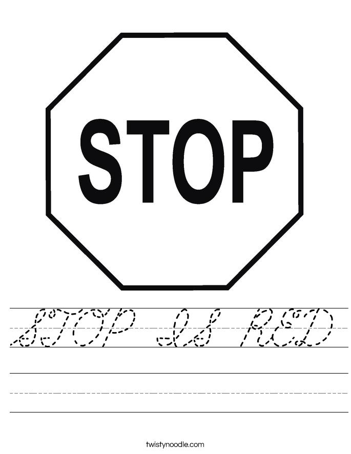 STOP IS RED Worksheet