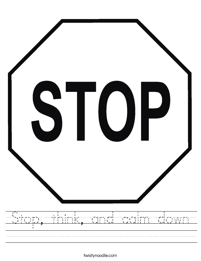 Stop, think, and calm down Worksheet