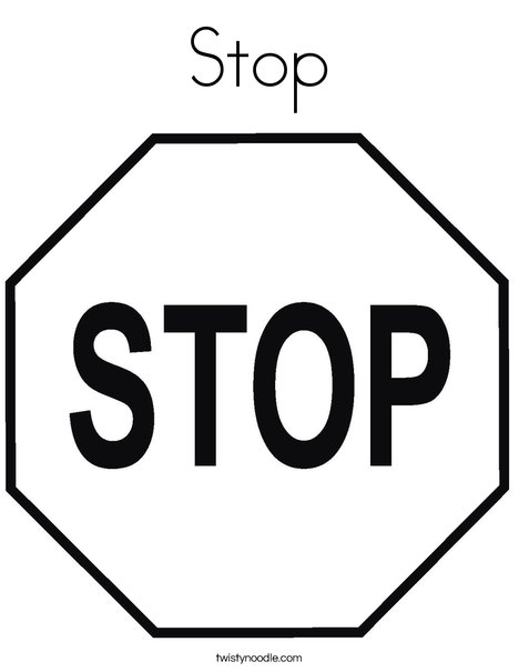 stop sign coloring pages Stop Coloring Page   Twisty Noodle stop sign coloring pages