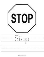 Stop Handwriting Sheet