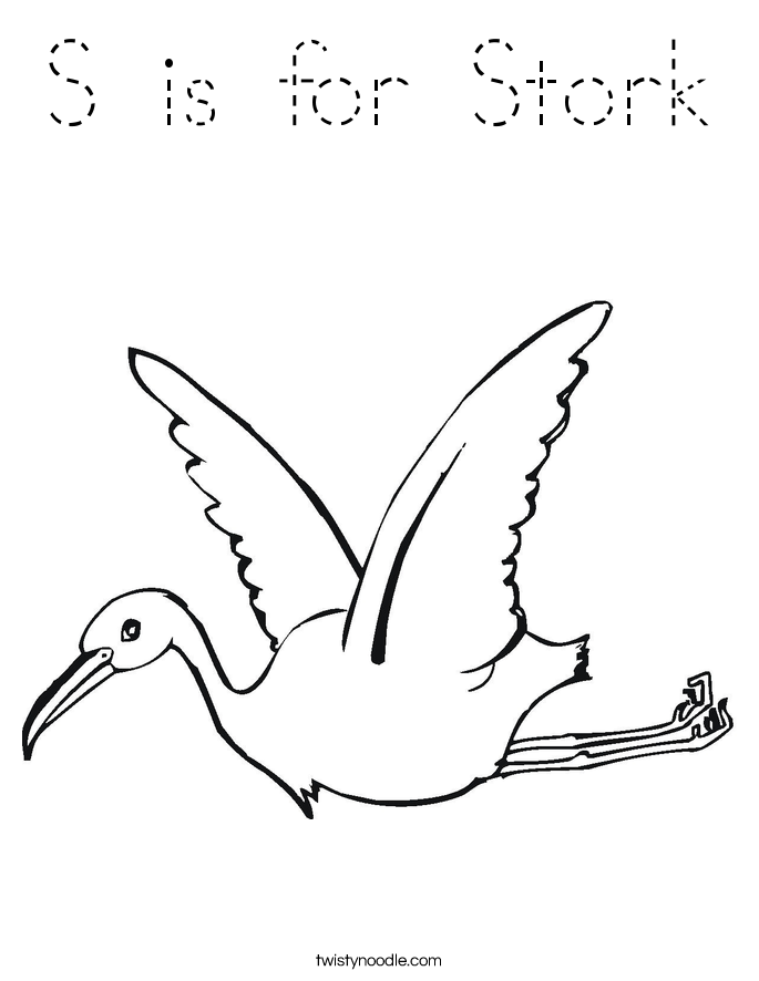 S is for Stork Coloring Page