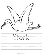 Stork Handwriting Sheet