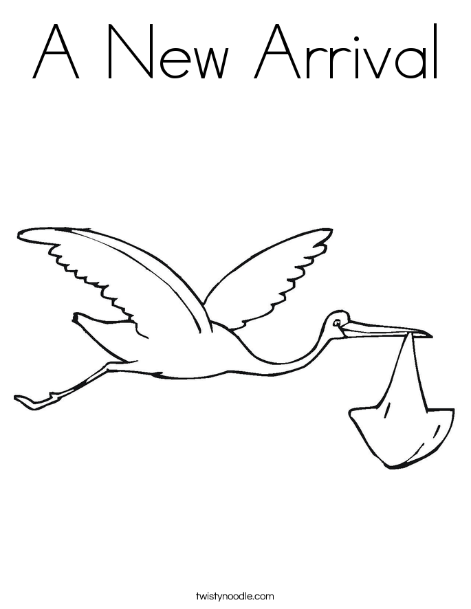 stork with baby coloring pages - photo#23