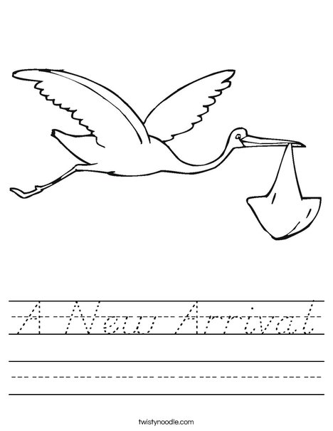 Stork with Baby Worksheet