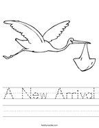 A New Arrival Handwriting Sheet