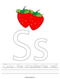 Color the strawberries red Worksheet