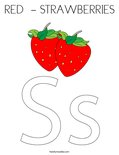 RED  - STRAWBERRIES Coloring Page
