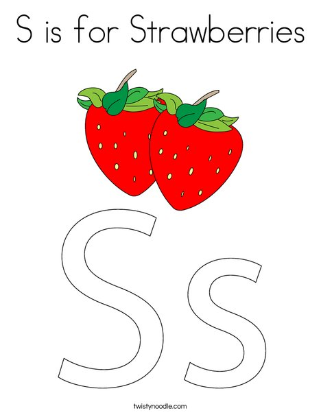 S Is For Strawberries Coloring Page Twisty Noodle