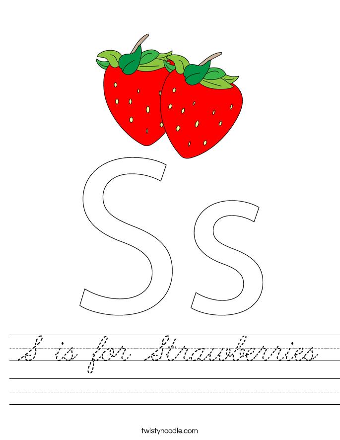S is for Strawberries Worksheet