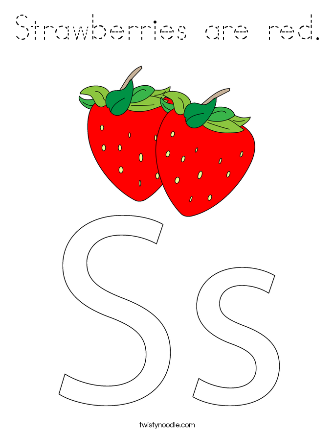 Strawberries are red. Coloring Page