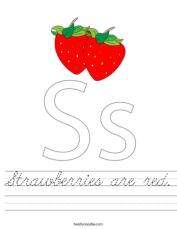 Strawberries are red. Worksheet