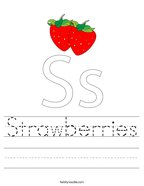 Strawberries Handwriting Sheet