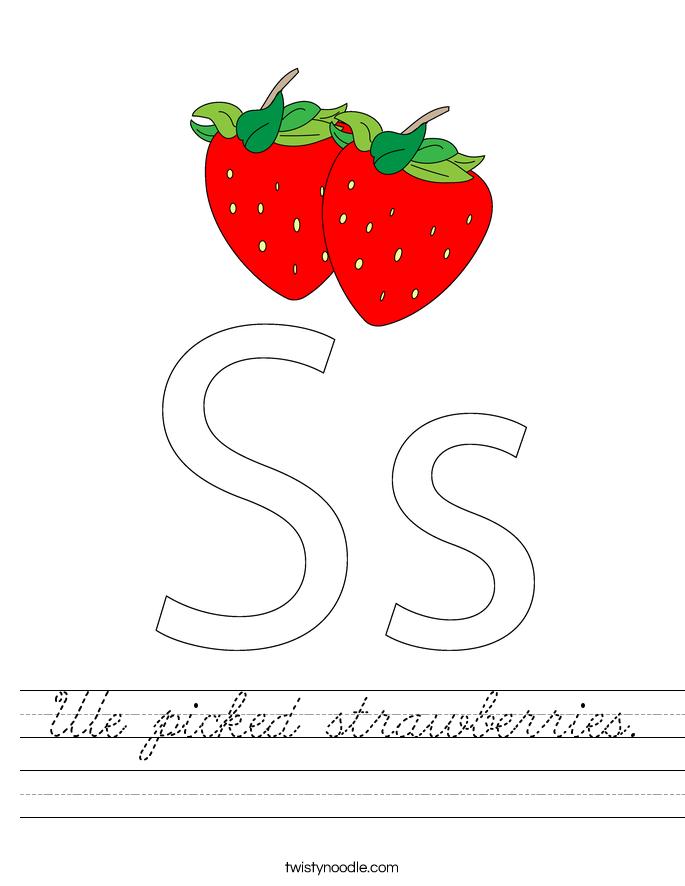 We picked strawberries. Worksheet