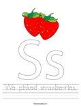We picked strawberries. Worksheet
