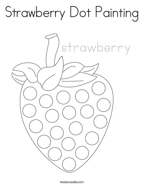 Strawberry Dot Painting Coloring Page